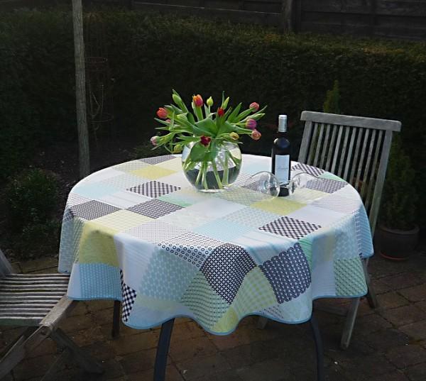 Tischdecke Provence 160 cm rund grün gelb grau Karomotiv aus Frankreich