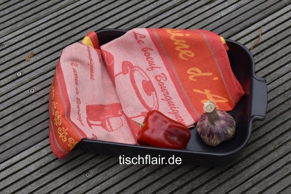 """Baumwoll-Geschirrtuch """"Cuisiner"""" in terrakotta"""