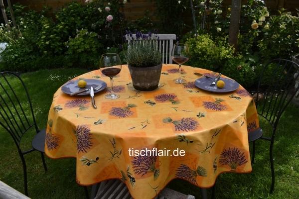 Salut Lavande! – Abwaschbare Tischdecke in terrakotta mit Lavendel