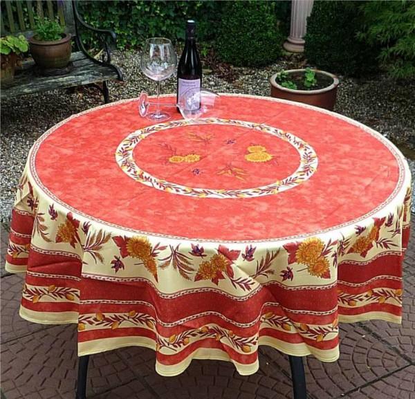 Tischdecke Provence 180 cm rund terrakotta Sonnenblumenmotiv aus Frankreich