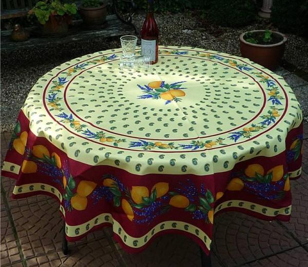 Tischdecke Provence 180 cm rund rot Zitronenmotiv aus Frankreich
