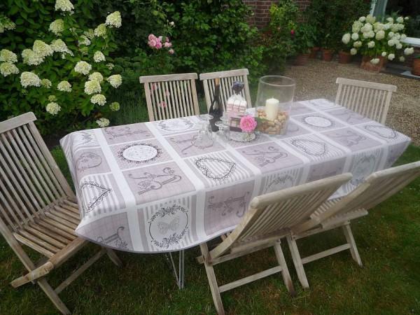 Tischdecke Provence 150x240 cm oval beige Monogramme aus Frankreich