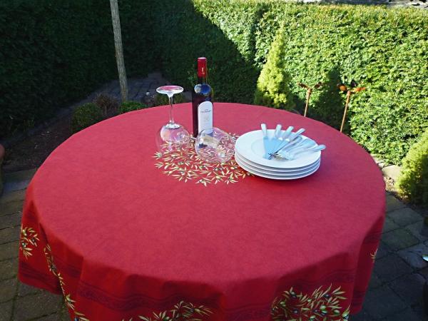 Tischdecke Baumwolle rund rot 180 cm Oliviers rouge aus Frankreich Provence