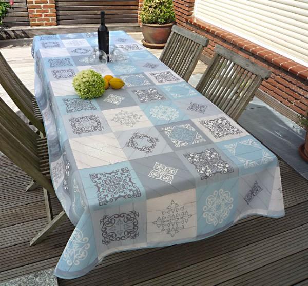 Tischdecke Provence 150x300 cm blau grau Ornamentmotiv aus Frankreich