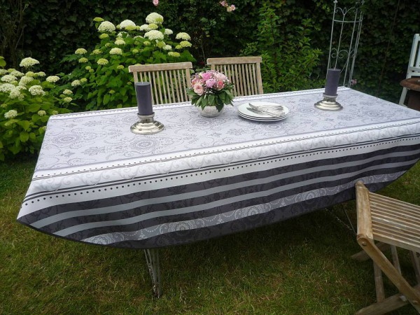 Tischdecke Provence 150x240 cm oval grau weiß Ornamentmotiv aus Frankreich