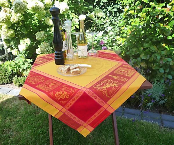 Tischdecke Provence 90x90 cm Jacquard Tavernes jaune aus Frankreich