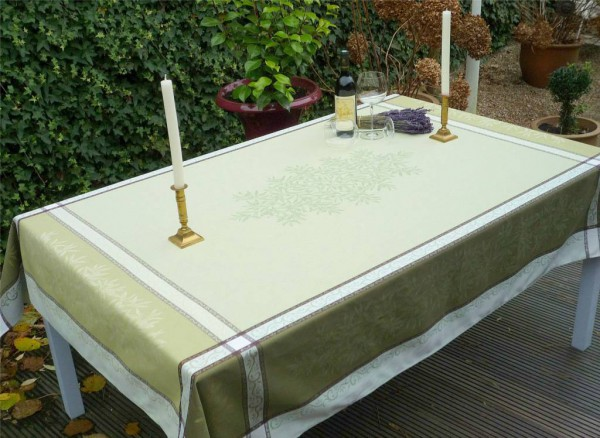 Tischdecke Provence 160x200 cm Baumwolle Jacquard Menton vert