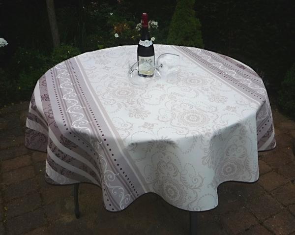 Tischdecke Provence 180 cm rund creme grau Ornamentmotiv aus Frankreich bügelfrei