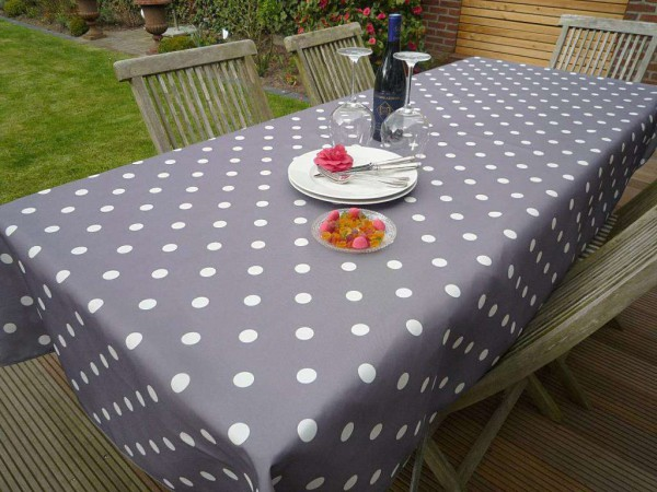 Tischdecke Provence 150x200 cm grau Punkte weiß aus Frankreich