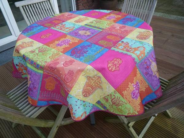 Tischdecke Provence 160 cm rund pink türkis Ornamentmotiv aus Frankreich