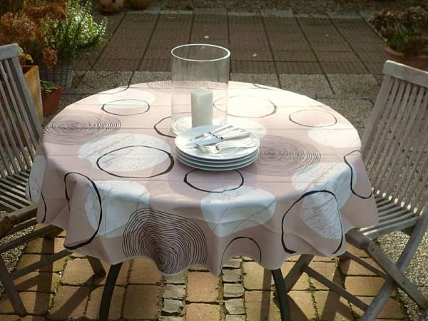 Hier geht's rund! – Beigefarbene Tischdecke mit charmanten Kreisen