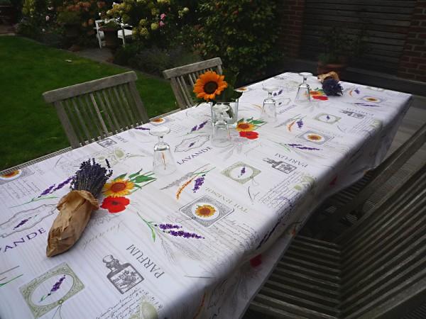 Tischdecke Provence 150x240 cm creme Sonnenblumen Lavendel aus Frankreich