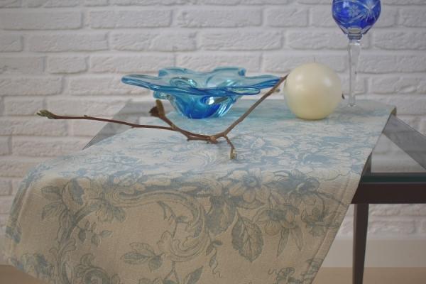 Französischer Touch! – Exklusiver Gobelin-Tischläufer Cheverny in Creme-Bleu