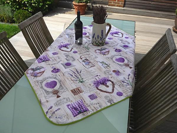 Tischdecke Provence 120x120 cm Lavendel creme aus Frankreich