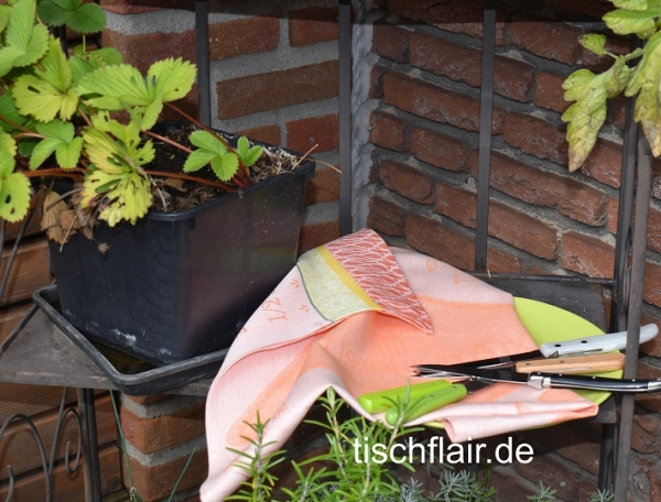 "Jacquard Geschirrtuch Baumwolle ""Calissons"" peche in pfirischfarben"