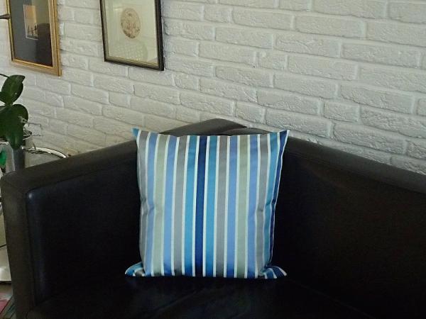 Kissenhülle Jacquard Taft blau grau Streifen 40x40 cm Brest bleu aus Frankreich Provence