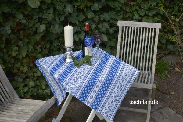 Blau und Weiß – ein Mix aus Kühle und Spritzigkeit! - Provenzalische Tischdecke Baumwolle Limeux