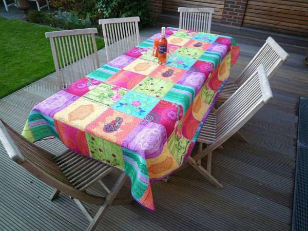 Buntes Farb-Spektakel…- Tischdecke Pink, Türkis, Gelb, Orange und Violett