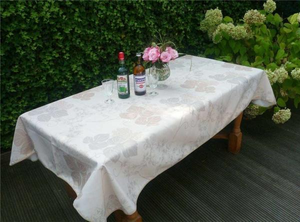 Tischdecke Provence 150x200 cm creme Blattmotiv aus Frankreich