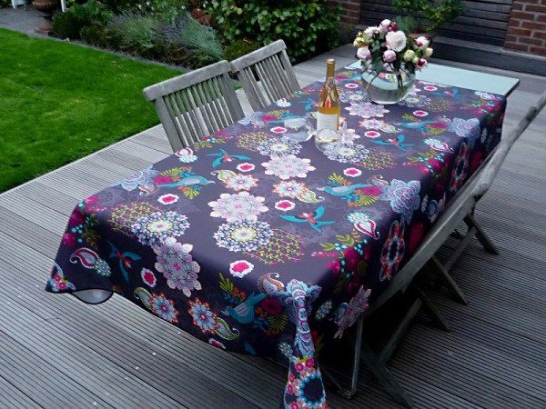 Tischdecke 150x240 cm schwarz Blumenmotiv aus Frankreich Provence bügelfrei