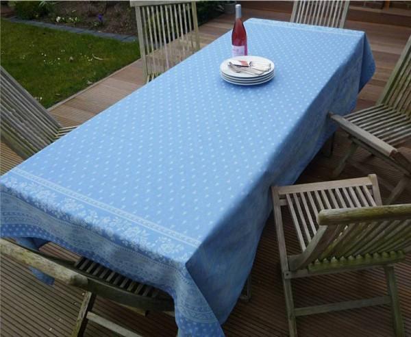 Tischdecke Jacquard 160x250 cm Cigale bleu aus Frankreich Provence mit Teflonschutz