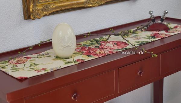 Vive la Rose! – Gobelin-Tischläufer Dubois mit einer Blütenexplosion
