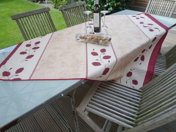 Tischdecke Provence 130x150 cm beige rot Rankenmotiv aus Frankreich