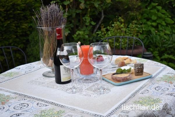 Genießer-Insel - Gobelin Jacquard Tischdecke Romarand creme