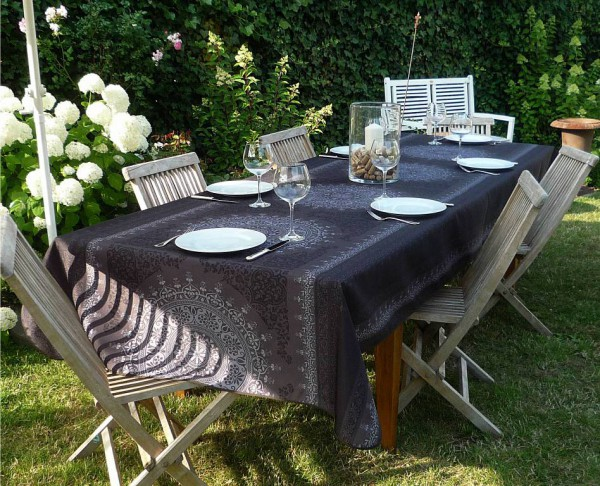 Tischdecke Provence 150x350 cm dunkelgrau Ornamentmotiv aus Frankreich