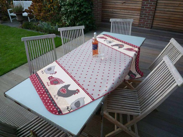 Tischdecke Provence 130x150 cm beige Hühnermotive aus Frankreich