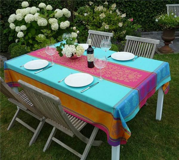 Tischdecke Jacquard Baumwolle 160x200 cm Chemin turquoise aus Frankreich Provence mit Teflonschutz