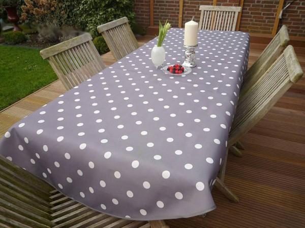 Tischdecke Provence 150x240 cm oval grau Punkte weiß aus Frankreich