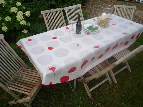 Tischdecke Provence 150x240 cm oval weiß Mohnblumen aus Frankreich
