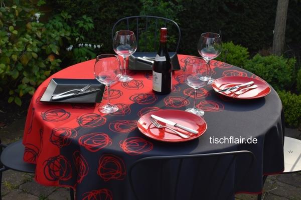 Abwechslung PUR! - Tischdecke rot schwarz Kringel aus Frankreich bügelfrei fleckabweisend