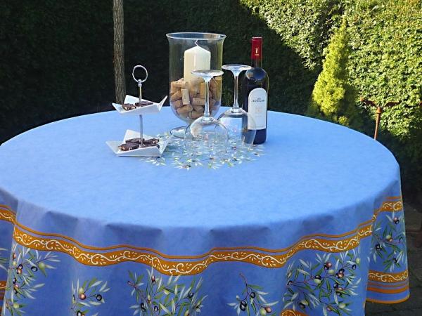 Tischdecke Provence Baumwolle 180 cm rund Oliviers bleu aus Frankreich