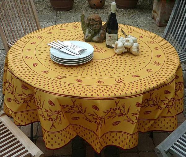 Tischdecke Provence 180 cm rund terrakotta rot Zikadenmotiv aus Frankreich