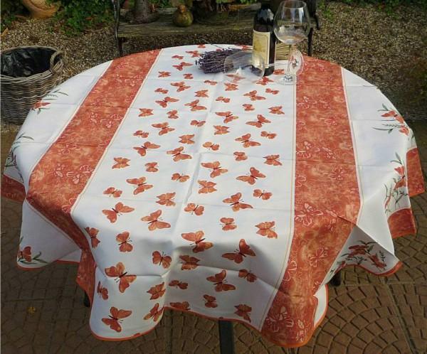 Tischdecke Provence 160 cm rund terrakotta Schmetterlinge aus Frankreich