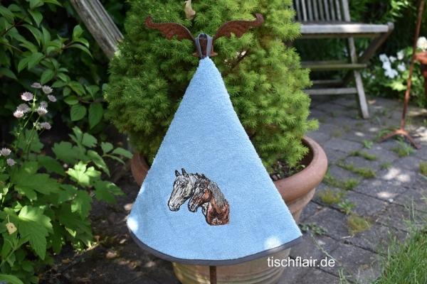 Rundhandtuch Provence 65 cm rund Chevaux bleu clair - hellblau