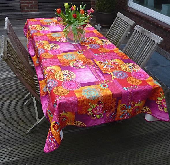 Tischdecke Provence 150x350 cm pink Blumenmotive aus Frankreich