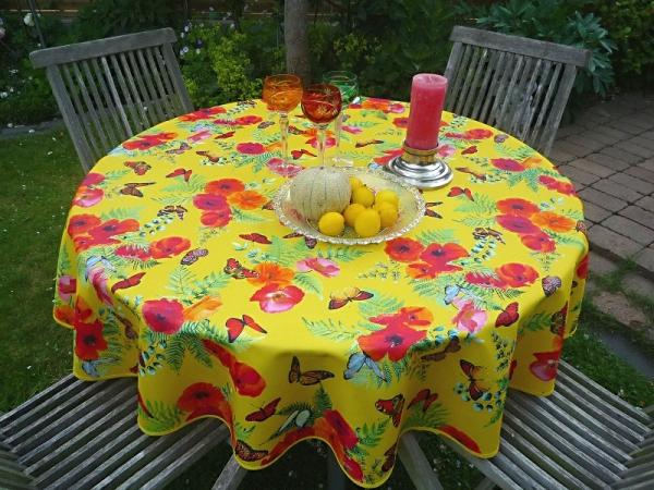 Mohnsüchtig! – Fantastisch gelbe Tischdecke mit Mohnblüten und Schmetterlingen