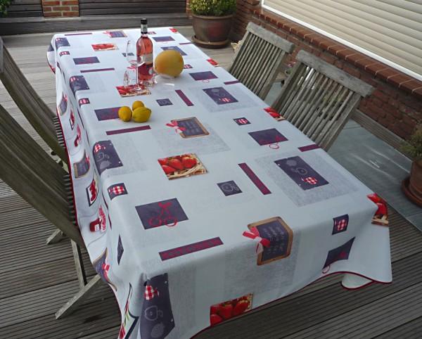 Tischdecke Provence 150x240 cm hellgrau Erdbeer- und Kirschmotive aus Frankreich