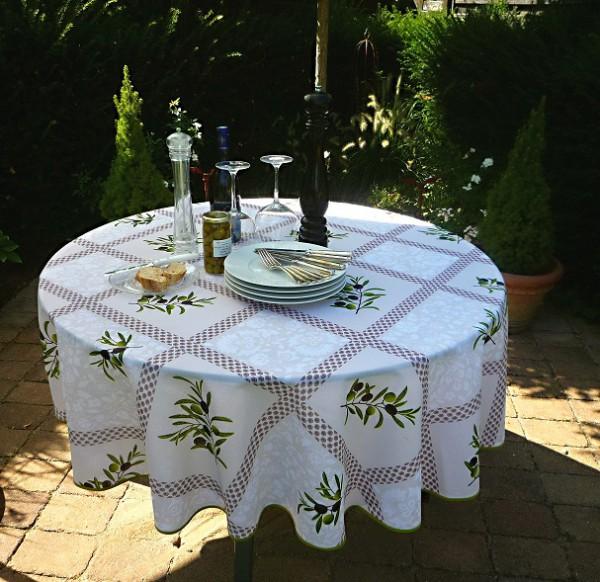 Tischdecke Provence 180 cm rund creme Olivenmotive aus Frankreich