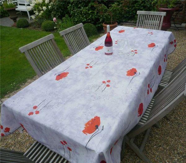 Blütentrubel in Rot! – Zart graue Tischdecke mit knalligen Mohnblüten