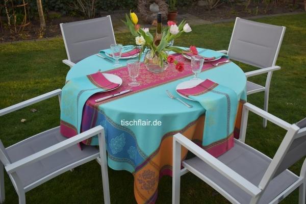 Farbenfroher Begleiter...- Jacquard Tischdecke Chemin türkis