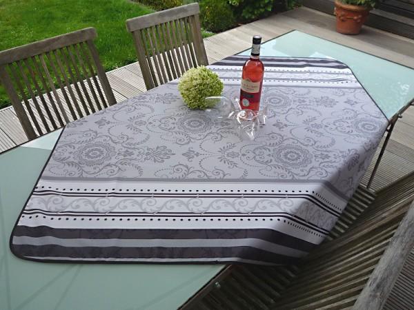 Tischdecke Provence 120x120 cm grau weiß Ornamentmotiv aus Frankreich