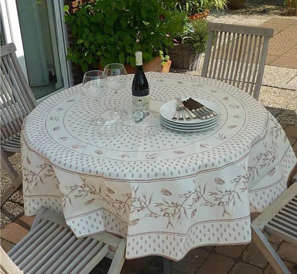 Tischdecke Provence 180 cm rund creme beige Zikadenmotiv aus Frankreich