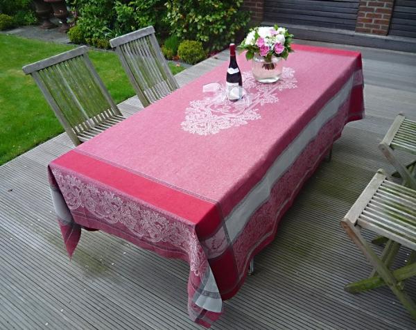 Tischdecke Jacquard Leinen 180x250 cm Medaillon rouge mit Hohlsaum