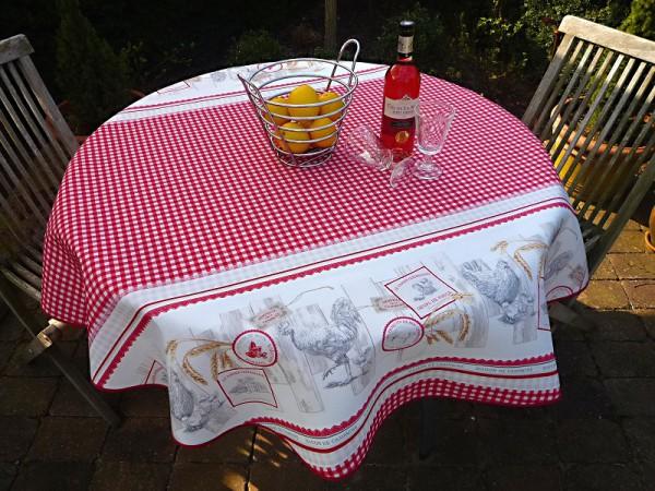 Rustikaler Stil – Rot-weiß karierte Tischdecke mit Hühnern