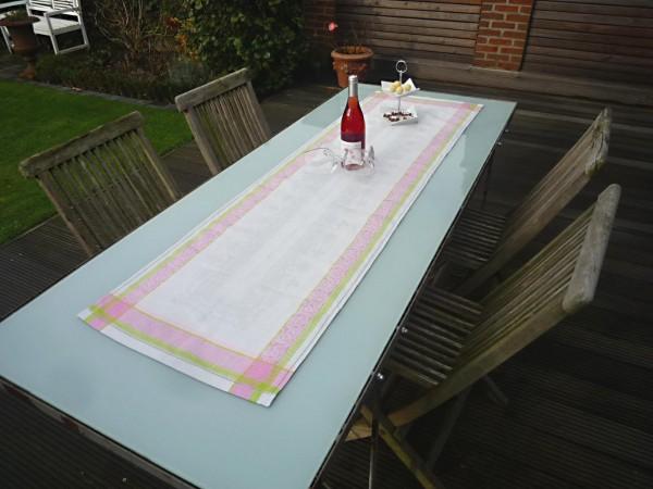 Tischläufer Jacquard Leinen 50x170 cm Classique gris rosé mit Hohlsaum