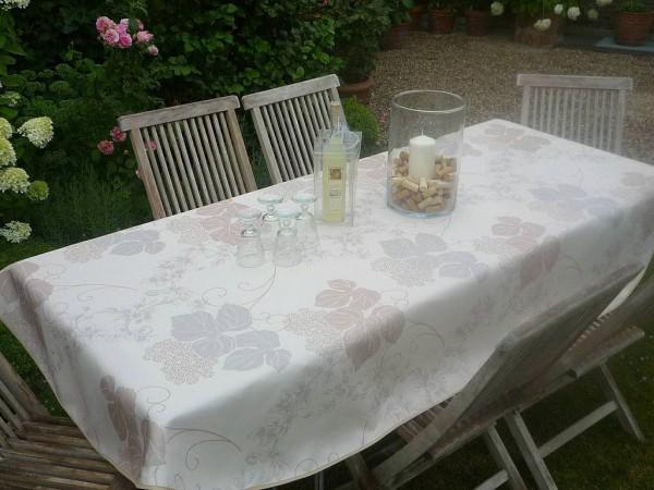 Tischdecke Provence 150x240 cm oval creme Blattmotiv aus Frankreich